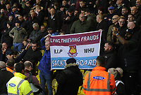 Football - 2017 / 2018 Premier League - Watford vs. West Ham United<br /> <br /> West Ham fans show a banner at half time saying ' sack the board' , at The London Stadium.<br /> <br /> COLORSPORT/ANDREW COWIE