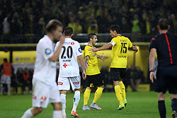 "27.08.2015, Signal Iduna Park, Dortmund, GER, UEFA Euro Qualifikation, Borussia Dortmund vs Odd Grenland, Playoff, Rückspiel, im Bild Kapitaen Mats Hummels (Borussia Dortmund #15) und Henrikh ""Micki"" Mkhihtaryan (Borussia Dortmund #10) beim Torjubel nach dem Treffer zum 1:1 Ausgleich // during UEFA Europa League Playoff 2nd Leg match between Borussia Dortmund and Odd Grenland Signal Iduna Park in Dortmund, Germany on 2015/08/27. EXPA Pictures © 2015, PhotoCredit: EXPA/ Eibner-Pressefoto/ Schueler<br /> <br /> *****ATTENTION - OUT of GER*****"