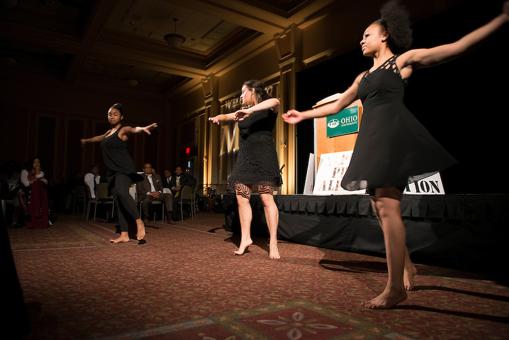 Members of the Athens Black Contemporary Dancers, Janae Potts, Betsy Oellermann and Raven Reid perform at the 14th Annual Dr. MArtin Luther King Jr. Brunch. (Photo by Olivia Wallace)