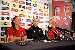 NEWPORT, WALES - Thursday, August 30, 2018: Wales' Natasha Harding, manager Jayne Ludlow and captain Sophie Ingle during a press conference at Rodney Parade ahead of the final FIFA Women's World Cup 2019 Qualifying Round Group 1 match against England. (Pic by David Rawcliffe/Propaganda)