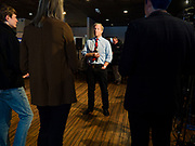 29 JANUARY 2020 - KNOXVILLE, IOWA: TOM STEYER answers reporters' questions in the press gaggle at a campaign event in Knoxville, about 40 miles southeast of Des Moines, Wednesday. About 60 people attended the campaign meet and greet. Steyer, a California businessman, is campaigning to be the Democratic nominee for the US Presidency in 2020. Iowa holds the first selection event of the 2020 election cycle. The Iowa Caucuses are Feb. 3, 2020.       PHOTO BY JACK KURTZ
