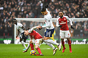 Arsenal Defender Hector Bellerin (24) and Tottenham Hotspur Midfielder Erik Lamela (11) battle for the ball during the Premier League match between Tottenham Hotspur and Arsenal at Wembley Stadium, London, England on 10 February 2018. Picture by Stephen Wright.
