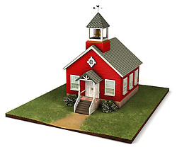 Old style red school house from an elevated isomorphic view on a white background