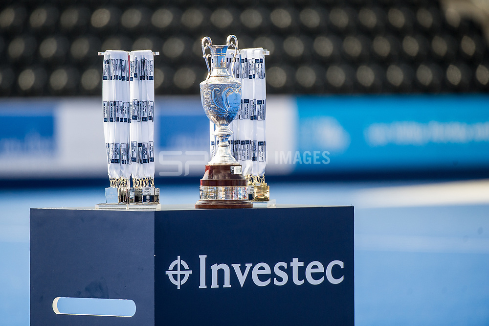 The Men's Hockey League Trophy and medals. Wimbledon v Surbiton - Men's Hockey League Final, Lee Valley Hockey & Tennis Centre, London, UK on 23 April 2017. Photo: Simon Parker