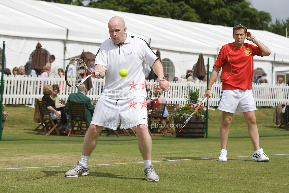 LIVERPOOL, ENGLAND - Wednesday, June 11, 2008: Representatives from sponsors Tradition take part in a Pro-Am with Peter McNamara on Day Two of the Tradition-ICAP Liverpool International Tennis Tournament at Calderstones Park. (Photo by David Rawcliffe/Propaganda)