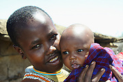 Portrait of a Datooga woman with baby Photographed in Lake Eyasi Tanzania