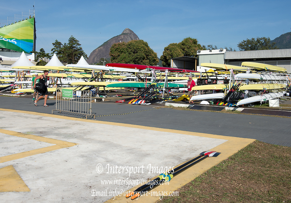 Rio de Janeiro. BRAZIL General view of the boat park.  2016 Olympic Rowing Regatta. Lagoa Stadium,<br /> Copacabana,  &ldquo;Olympic Summer Games&rdquo;<br /> Rodrigo de Freitas Lagoon, Lagoa. Local Time 08:52:28  Sunday  07/08/2016<br /> [Mandatory Credit; Peter SPURRIER/Intersport Images]