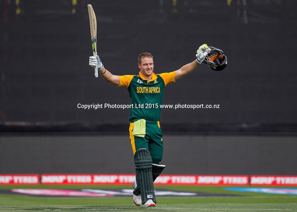 South Africa's David Miller celebrates his hundred during the ICC Cricket World Cup match - South Africa v Zimbabwe at Seddon Park, Hamilton, New Zealand on Sunday 15 February 2015.  Photo:  Bruce Lim / www.photosport.co.nz