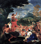 baciccios 'The Preaching of St John the Baptis't. The composition of the painting, painted for the Jesuits in Rome, derives from a design by Bernini, known by the Baciccio from an engraving. 1690