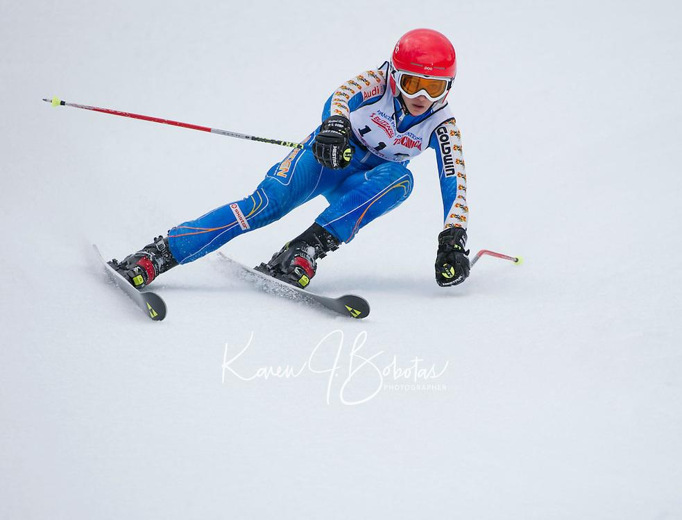 Piche Invitational giant slalom at Gunstock.  U14 ladies 2nd run.  ©2014 Karen Bobotas Photographer