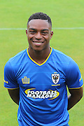 AFC Wimbledon forward Toyosi Olusanya at AFC Wimbledon Team Photo 02AUG16 at the Cherry Red Records Stadium, Kingston, England on 2 August 2016. Photo by Stuart Butcher.