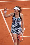 Alize Cornat (FRA) won against Sarah Erani (ITA), celebration during the Roland Garros French Tennis Open 2018, day 1, on May 27, 2018, at the Roland Garros Stadium in Paris, France - Photo Stephane Allaman / ProSportsImages / DPPI