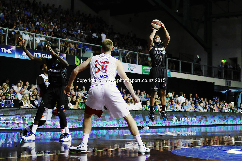 Corey Webster of the Breakers takes a three pointer. 2014/15 ANBL, SkyCity Breakers vs Wollongong Hawks, North Shore Events Centre, Auckland, New Zealand. Thursday 8 January 2015. Photo: Anthony Au-Yeung / www.photosport.co.nz