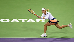 Angelique Kerber of Germany returns the ball during the first round match against Victoria Azarenka of Belarus in the WTA Qatar Open tennis tournament in Doha, Qatar, Feb. 23, 2015. Angelique Kerber lost 0-2. EXPA Pictures © 2015, PhotoCredit: EXPA/ Photoshot/ Chen Shaojin<br /> <br /> *****ATTENTION - for AUT, SLO, CRO, SRB, BIH, MAZ only*****