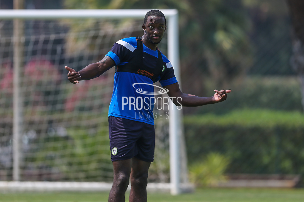 Forest Green Rovers Shamir Mullings(14) during the Forest Green Rovers Training session at Browns Sport and Leisure Club, Vilamoura, Portugal on 25 July 2017. Photo by Shane Healey.