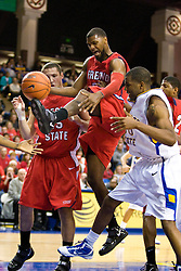 February 27, 2010; San Jose, CA, USA;  Fresno State Bulldogs forward Sylvester Seay (30) gets away with a kicked ball against the San Jose State Spartans during the first half at The Event Center.  San Jose State defeated Fresno State 72-45.