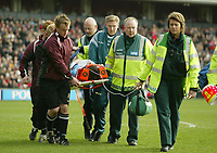 Photo: Aidan Ellis.<br /> Barnsley v Derby County. Coca Cola Championship. 31/03/2007.<br /> Barnsley keeper David Lucas is stretcherd off after being knocked unconcious