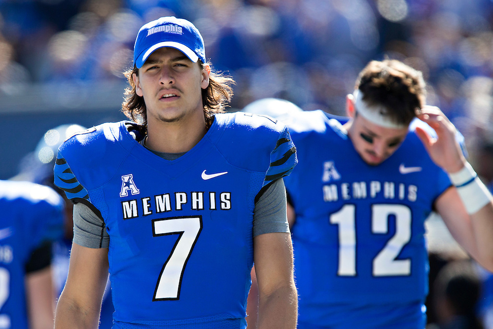 MEMPHIS, TN - OCTOBER 17:  Brady Davis #7 of the Memphis Tigers on the sidelines during a game against the Ole Miss Rebels at Liberty Bowl Memorial Stadium on October 17, 2015 in Memphis, Tennessee.  The Tigers defeated the Rebels 37-24.  (Photo by Wesley Hitt/Getty Images) *** Local Caption *** Brady Davis