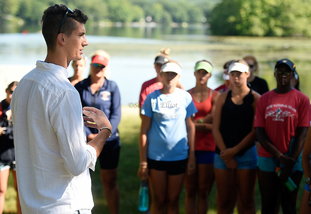 7/3/16 :: SPORTS :: FULKERSON :: Old Lyme native Austin Hack answers questions from participants in a USA Rowing Junior Nationals summer camp hosted at Rogers Lake in Old Lyme Sunday, July 3, 2016. Hack will be rowing as a member of the U.S. National Team in the Rio Olympics next month and was home on a rare two-day break from training with the team in Princeton, NJ. (Sean D. Elliot/The Day)