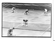 Drying court after rain before the pam schriver/steffi graf match, U.S open tennis championships flushing Meadams© Copyright Photograph by Dafydd Jones 66 Stockwell Park Rd. London SW9 0DA Tel 020 7733 0108 www.dafjones.com