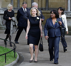 © Licensed to London News Pictures. 20/06/2016. London, UK. LIZ TRUSS MP and DIANE ABBOTT MP arrive at St Margaret's Church, Westminster Abbey to take part in a Service of Prayer and Remembrance to commemorate Jo Cox MP, who was killed in her constituency on June 16, 2016. Photo credit: Peter Macdiarmid/LNP