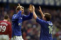 Rangers v Hearts, Scottish Premier. Ibrox Park.<br /><br />Pic Ian Stewart, 3/03/01.<br /><br />Flo and dodds celebrtae