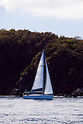 "Ta-Keel-Ya sailing from Road Town to Jost Van Dyke during the Manhattan Sailing Club's ""De Caribbean Regatta"" cruise."