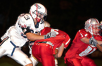Friday night football under the lights at Laconia High School matches up the Laconia Sachems and the Plymouth Bobcats for NHIAA Division IV football.  Laconia took the win 30 to 20.  (Karen Bobotas/for the Laconia Daily Sun)