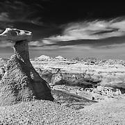 Mocking Gravity - Bisti Badlands - New Mexico - Black & White