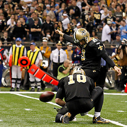 January 7, 2012; New Orleans, LA, USA; New Orleans Saints place kicker John Kasay (2) kicks a field goal against the Detroit Lions during the 2011 NFC wild card playoff game at the Mercedes-Benz Superdome. Mandatory Credit: Derick E. Hingle-US PRESSWIRE