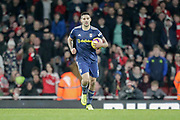 GOAL 2-1 Fulham striker Aleksandar Mitrovic (9) runs back to the centre circle after Fulham striker Aboubakar Kamara (47) pulls one back for Fulham during the Premier League match between Arsenal and Fulham at the Emirates Stadium, London, England on 1 January 2019.