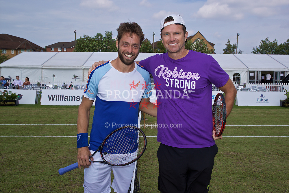 LIVERPOOL, ENGLAND - Sunday, June 23, 2019: Paulo Lorenzi (ITA) and Robert Kendrick (USA) pose for a pre-match photograph before the Men's Final on Day Four of the Liverpool International Tennis Tournament 2019 at the Liverpool Cricket Club. (Pic by David Rawcliffe/Propaganda)