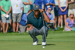 August 9, 2018 - Town And Country, Missouri, U.S - TIGER WOODS from Jupiter Florida, USA lines up his putt on the 14th green during round one of the 100th PGA Championship on Thursday, August 8, 2018, held at Bellerive Country Club in Town and Country, MO (Photo credit Richard Ulreich / ZUMA Press) (Credit Image: © Richard Ulreich via ZUMA Wire)