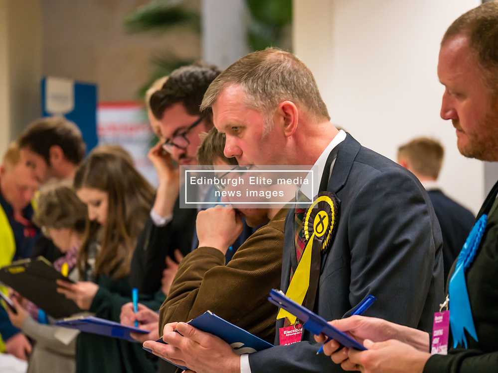 Pictured: Leith Walk Council By-Election. Edinburgh City Council, Edinburgh, Scotland, 11 April 2019. Pictured: Dan McCroskrie, Scottish Conservative and Unionist candidate, Jack Caldwell, Scottish Liberal Democrats candidate and Rob Munn, Scottish National Party (SNP) candidate. 25,526 residents are registered to vote in one of the most densely populated areas in Scotland under the Single Transferable Vote (STV) system. This is the first time in Scotland that an STV by-election has been needed to fill two vacancies in the same ward, held as a result of the resignation of Councillor Marion Donaldson. The election fielded 11 candidates, including the first ever candidate for the For Britain Movement in Scotland, Paul Stirling, founded by former UKIP leadership candidate Anne Marie Waters in March 2018.<br /> <br /> Sally Anderson | EdinburghElitemedia.co.uk