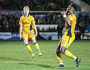 Finley Wood of Newport County goes close during the The FA Cup match between Newport County and Alfreton Town at Rodney Parade, Newport, Wales on 15 November 2016. Photo by Andrew Lewis.
