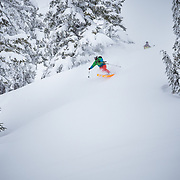 Swift skis a powder haven during a winter whiteout in the backcountry near Mount Baker Ski Area in Washington State.