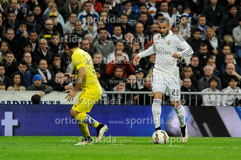 01.03.2015, Estadio Santiago Bernabeu, Madrid, ESP, Primera Division, Real Madrid vs FC Villarreal, 25. Runde, im Bild Real Madrid&acute;s Jese Rodriguez and Villarreal CF&acute;s Jaume Costa // during the Spanish Primera Division 25th round match between Real Madrid CF and Villarreal at the Estadio Santiago Bernabeu in Madrid, Spain on 2015/03/01. EXPA Pictures &copy; 2015, PhotoCredit: EXPA/ Alterphotos/ Luis Fernandez<br /> <br /> *****ATTENTION - OUT of ESP, SUI*****