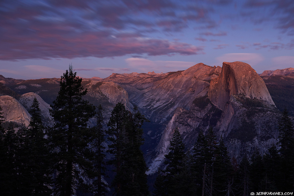 A view form Glacier Point of Half Dome in Yosemite National Park at twilight.
