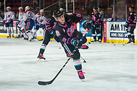 KELOWNA, BC - SEPTEMBER 21:  Kyle Crosbie #18 of the Kelowna Rockets warms up against the Spokane Chiefs  at Prospera Place on September 21, 2019 in Kelowna, Canada. (Photo by Marissa Baecker/Shoot the Breeze)