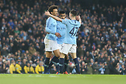 19 Leroy Sané celebrates goal No7 for Manchester City during the The FA Cup 3rd round match between Manchester City and Rotherham United at the Etihad Stadium, Manchester, England on 6 January 2019.