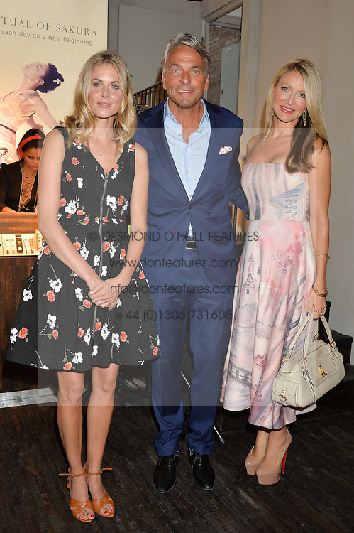 Left to right, DONNA AIR, RAYMOND CLOOSTERMAN CEO of Rituals and CAPRICE BOURRET at the launch of the new Rituals store at 29 James Street, Covent Garden, London on 1st September 2016.