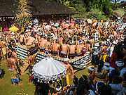 22 JULY 2016 - TENGANAN DUAH TUKAD, BALI, INDONESIA:  The stage for the pandanus fights in the Tenganan Duah Tukad village on Bali. The ritual Pandanus fights are dedicated to Hindu Lord Indra. Men engage in ritual combat with spiky pandanus leaves and rattan shields. They usually end up leaving bloody scratches on the combatants' backs. The young girls from the community wear their best outfits to watch the fights. The fights have been traced to traditional Balinese beliefs from the 14th century CE. The fights are annual events in the Balinese year, which is 210 days long, or about every seven months in the Gregorian calendar.   PHOTO BY JACK KURTZ