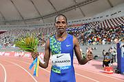 Elijah Manangoi (KEN) poses after winning the 1,500m in 3:32.21 during the IAAF Doha Diamond League 2019 at Khalifa International Stadium, Friday, May 3, 2019, in Doha, Qatar
