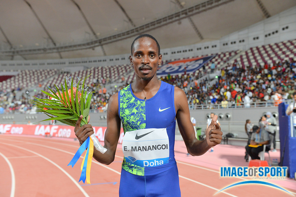 Elijah Manangoi (KEN) poses after winning the 1,500m in 3:32.21 during the IAAF Doha Diamond League 2019 at Khalifa International Stadium, Friday, May 3, 2019, in Doha, Qatar