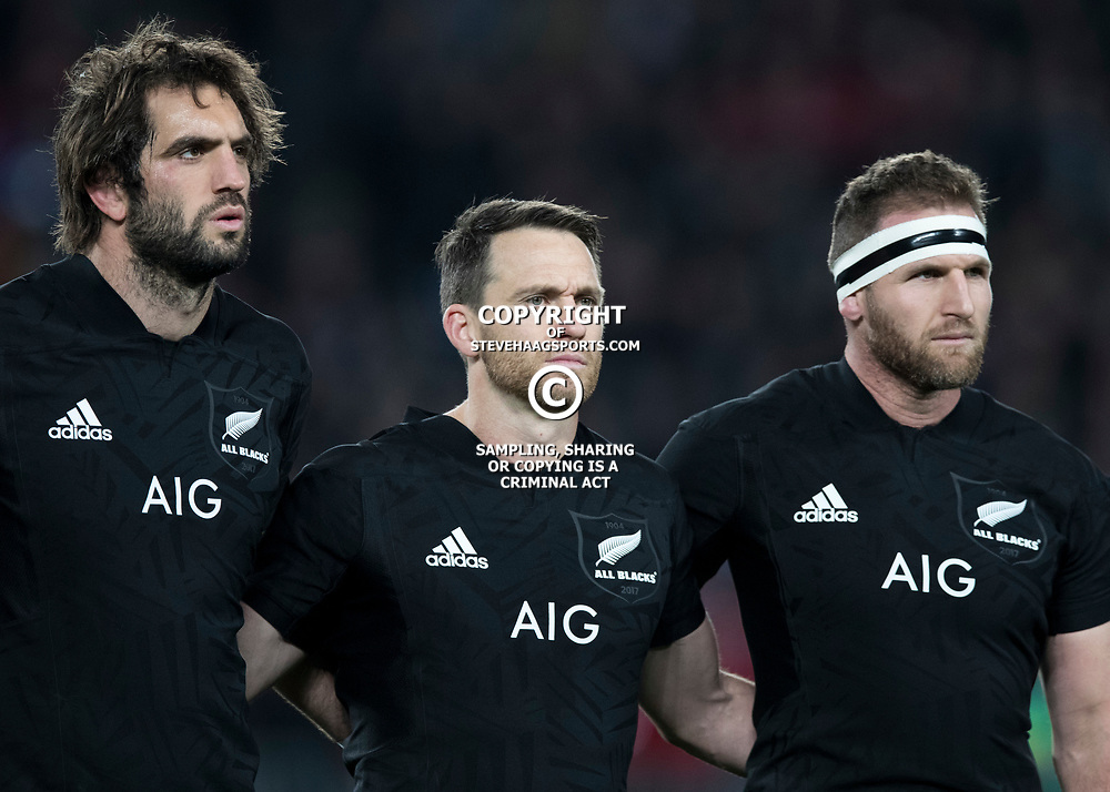 Sam Whitelock Ben Smith Kieran Read (c) during game 7 of the British and Irish Lions 2017 Tour of New Zealand, the first Test match between  The All Blacks and British and Irish Lions, Eden Park, Auckland, Saturday 24th June 2017<br /> (Photo by Kevin Booth Steve Haag Sports)<br /> <br /> Images for social media must have consent from Steve Haag