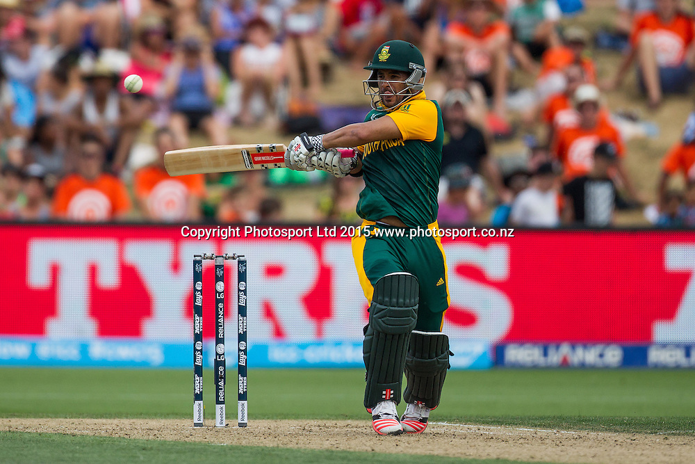 South Africa's JP Duminy batting during the ICC Cricket World Cup match - South Africa v Zimbabwe at Seddon Park, Hamilton, New Zealand on Sunday 15 February 2015.  Photo:  Bruce Lim / www.photosport.co.nz
