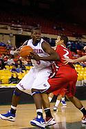 November 27, 2008: Louisiana Tech guard Olu Ashaolu (5) spins around Seattle University's Aaron Broussard (2) in the opening round of the 2008 Great Alaska Shootout at the Sullivan Arena