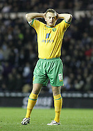 Derby - Tuesday October 28th, 2008: Sammy Clingan of Norwich City, just can't believe his luck at missing a chance during the Coca Cola Championship match against Derby County at Pride Park, Derby. (Pic by Michael Sedgwick/Focus Images)