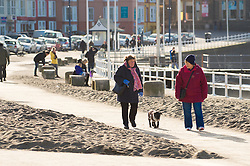 © London News Pictures. 15/02/2016. Aberystwyth, UK. People enjoying a day of  warm winter sunshine walking along the promenade in Aberystwyth, which is still partially covered with sand and shingle washed up by the ferocious Storm Imogen exactly a week ago. Photo credit: Keith Morris/LNP