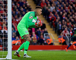 LIVERPOOL, ENGLAND - Sunday, October 7, 2018: Manchester City's goalkeeper Ederson Moraes during the FA Premier League match between Liverpool FC and Manchester City FC at Anfield. (Pic by David Rawcliffe/Propaganda)
